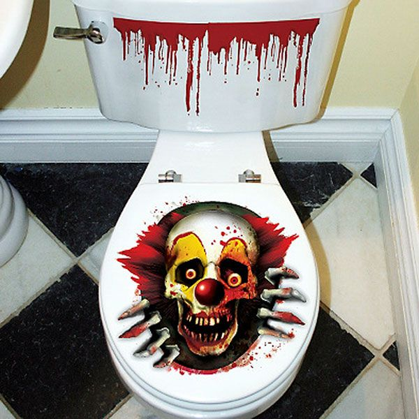 scary clown toilet topper 299 each - Scary Clown Halloween Decorations