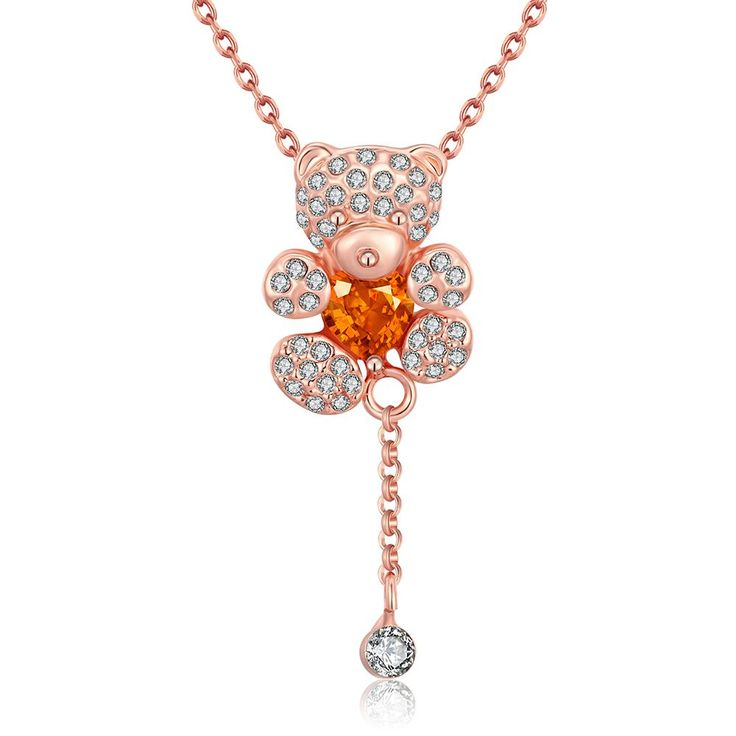 Buy Necklaces Women Trendy Animal Rose Gold Plated Alloy Crystal 8inches Chain Pendant with wholesale free shipping & drop shipping.