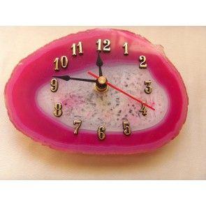 Pink agate clock