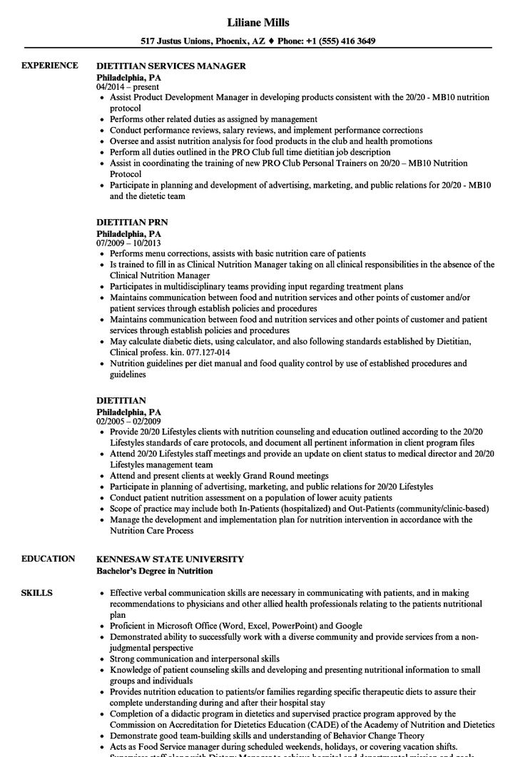 Image result for dietitian resume examples in 2019 Sales