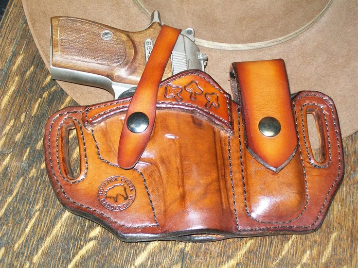 Pancake holster with attached magazine pouch for a Bersa .380 pistol. Made at Boulder Creek Saddle Shop, Kettle Falls, WA.