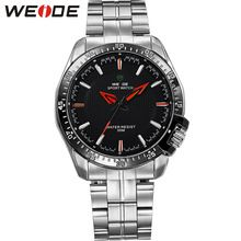 WEIDE Watches Men Luxury Brand Casual Watch Japan Quartz Simple Black Dial Stainless Steel Band Analog Waterproof Wristwatch(China (Mainland))
