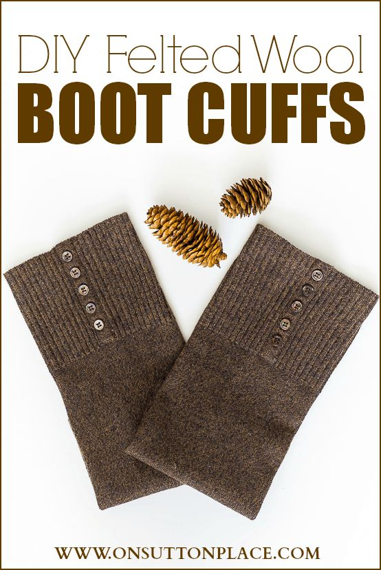 Easy, DIY felted wool boot cuffs made from a thrift store sweater. Complete tutorial on how to felt the wool and make the cuffs. #bootcuffs #legwarmers #nosew