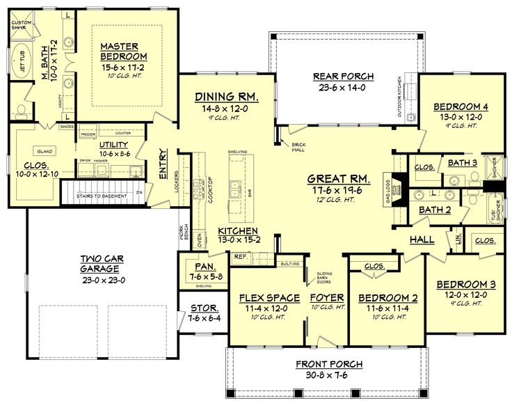 Craftsman Style House Plan - 4 Beds 3 Baths 2639 Sq/Ft Plan #430-104 Main Floor Plan - Houseplans.com