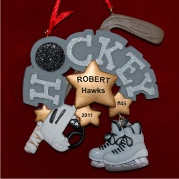 Hockey Player Personalized Christmas Ornament | Hockey Ornaments ...