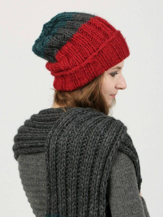 942610029c6 Chunky knit hat Knitted hat in wool Best Winter Hat for Women with lapel  Slouch knit beanie in red K