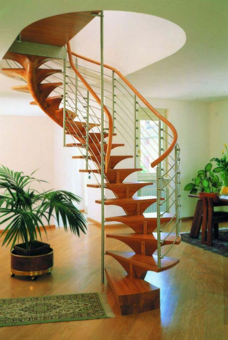Architecture, Inspiring Modern Wooden Spiral Staircase With Metal Baluster  Interior Room Architecture Plans With Rugs And Indoor Plants On W.