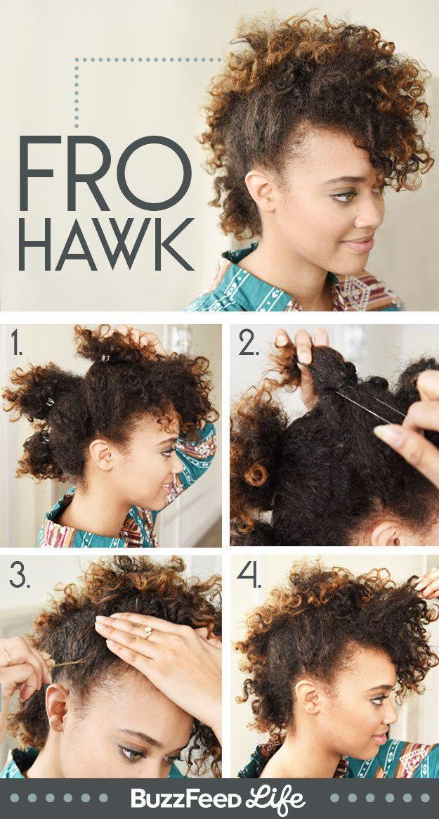 Fique estilosa com um moicano. | 17 penteados lindos para cabelos naturalmente cacheados