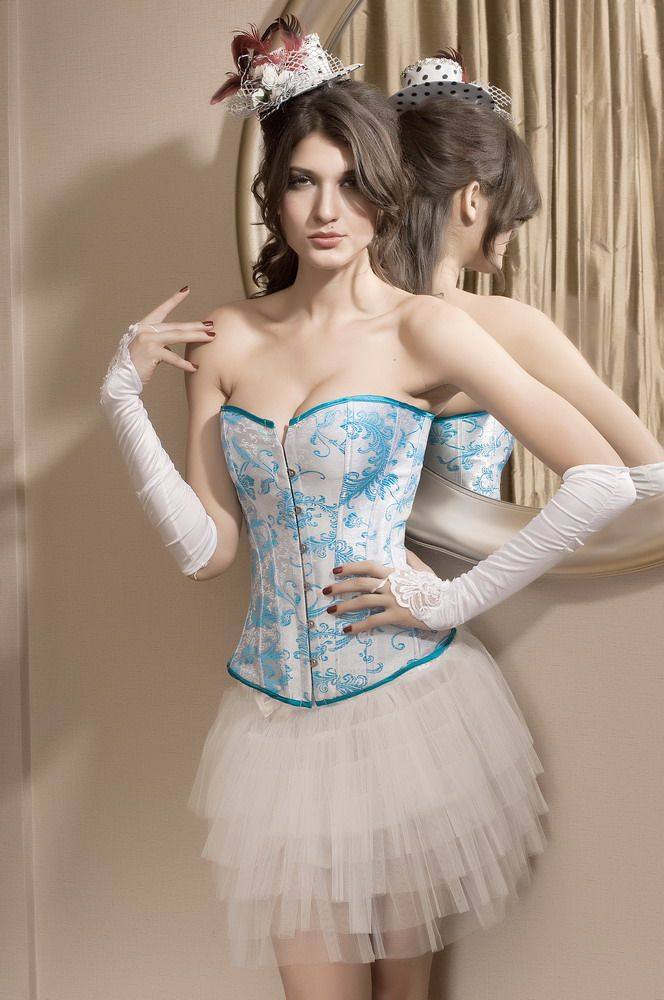 Soft Blue White Bridal Corset Overbust