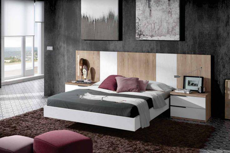Dormitorio de matrimonio compuesto de cabecero corrido con franjas ...