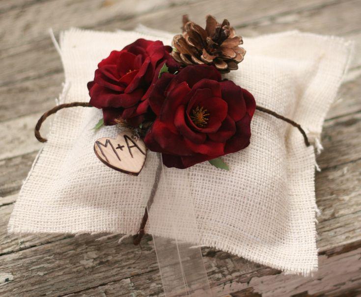 Winter Ring Bearer Pillow Burlap Rustic Wedding Decor