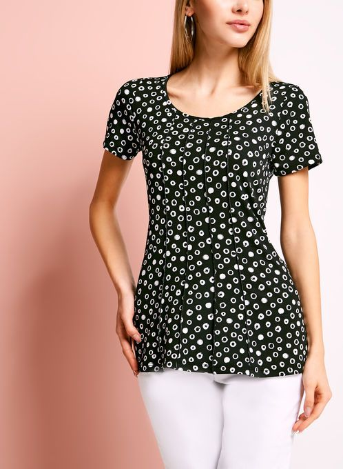 Scoop Neck Graphic Dot Print T-Shirt