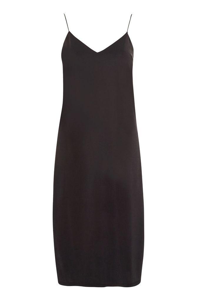 Black Midi Slip Dress by Top Shop