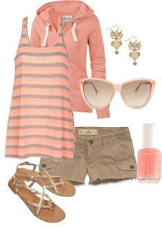 Pink spring outfit, cutoff khaki shorts, pretty in pink nail polish, pink and gray striped tank top, pink zip up hoodie, owl earrings, adorable spring outfits
