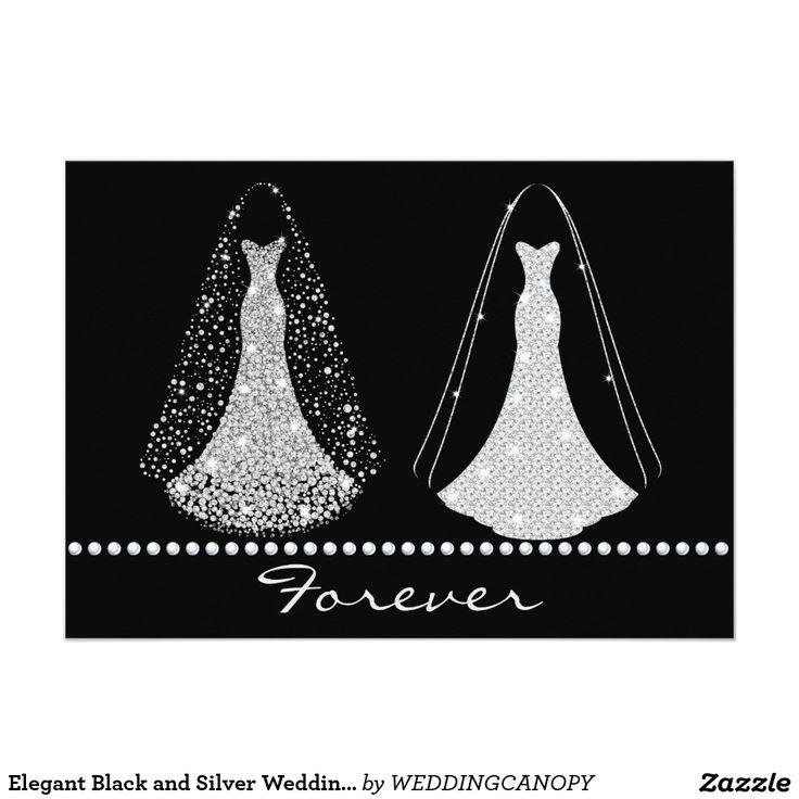 zazzle wedding invitations promo code%0A Elegant Black and Silver Wedding Invitation