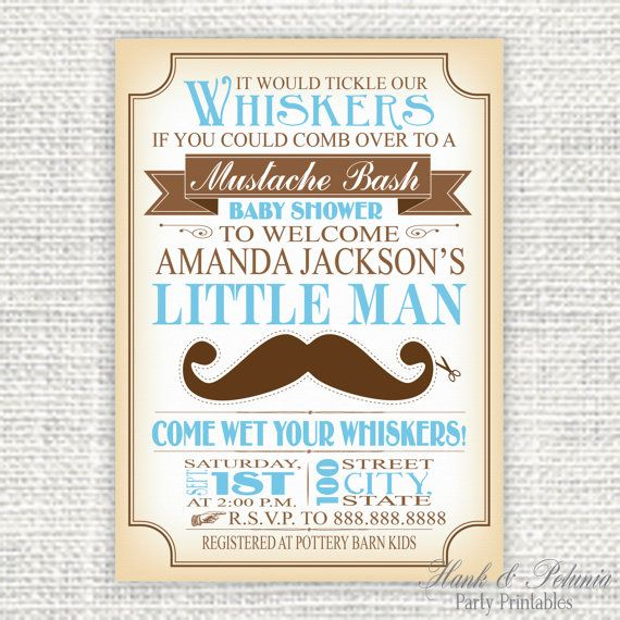 free printable mustache baby shower invitations templates - 28 ...