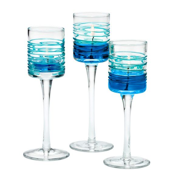 wundersch ne wei blaue votivkerzenhalter luftikus trio aus glas von partylite manuela s. Black Bedroom Furniture Sets. Home Design Ideas