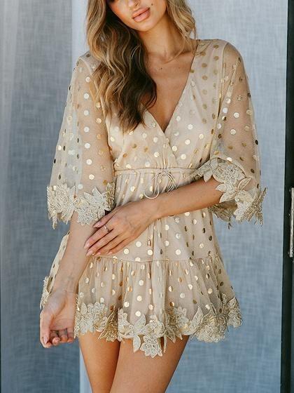 f30e175e295b Gold V-neck Sequin Detail Flare Sleeve Chic Women Mini Dress – risechic.com