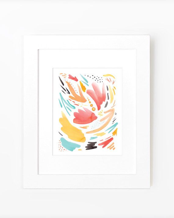 Abstract Watercolor Print in Red Green Orange Gray Yellow Abstract Art Print 8 x 10 - Tropical Confetti by StudioFourest on Etsy https://www.etsy.com/listing/231527883/abstract-watercolor-print-in-red-green