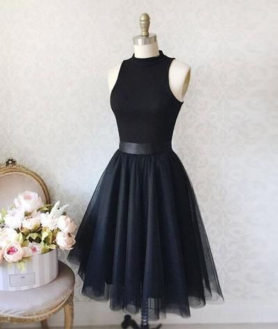 Simple black short ball gown in tulle, black Homecoming dress by dress idea