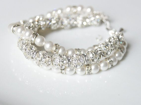 looove this!!!Bridal Bracelet  Pearl and Rhinestone Multi by WeddingAndGems, £55.99