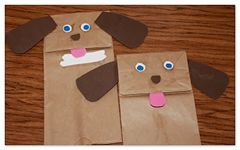 Puppy Puppet -- for letter P week -- pink tongue, pom pom nose, puppy paper bag puppet!