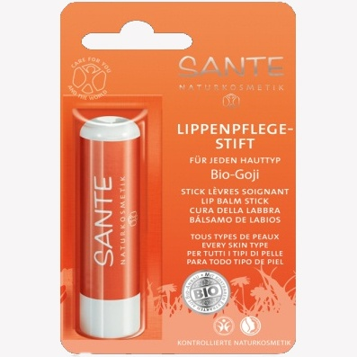 To protect and soothe your lips (even if they're a bit sensitive), with shea butter, jojoba, almond, goji.... Sante Organic Goji Berry Lip Balm