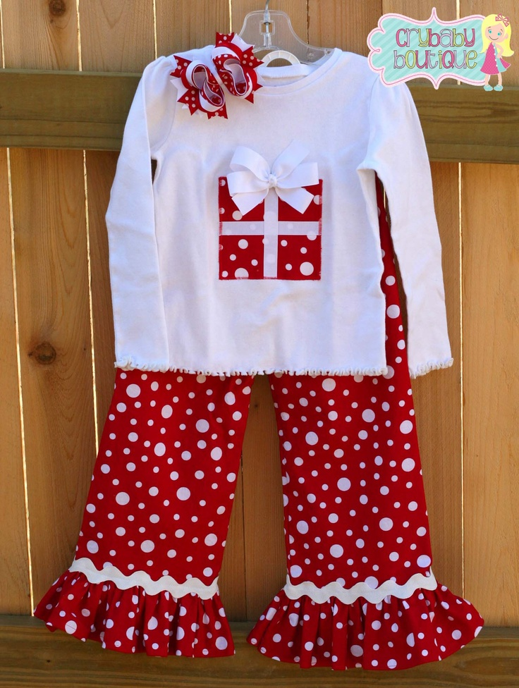 Christmas outfit red & white dot ruffle pants with ric rac trim, applique top and matching bow