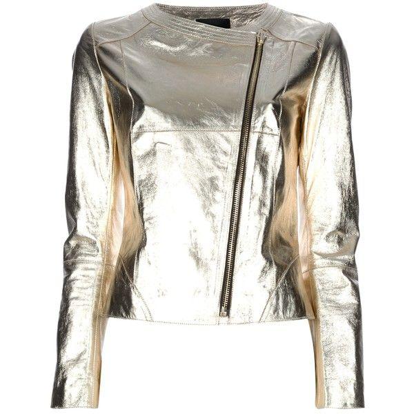 metallic zip-up jacket