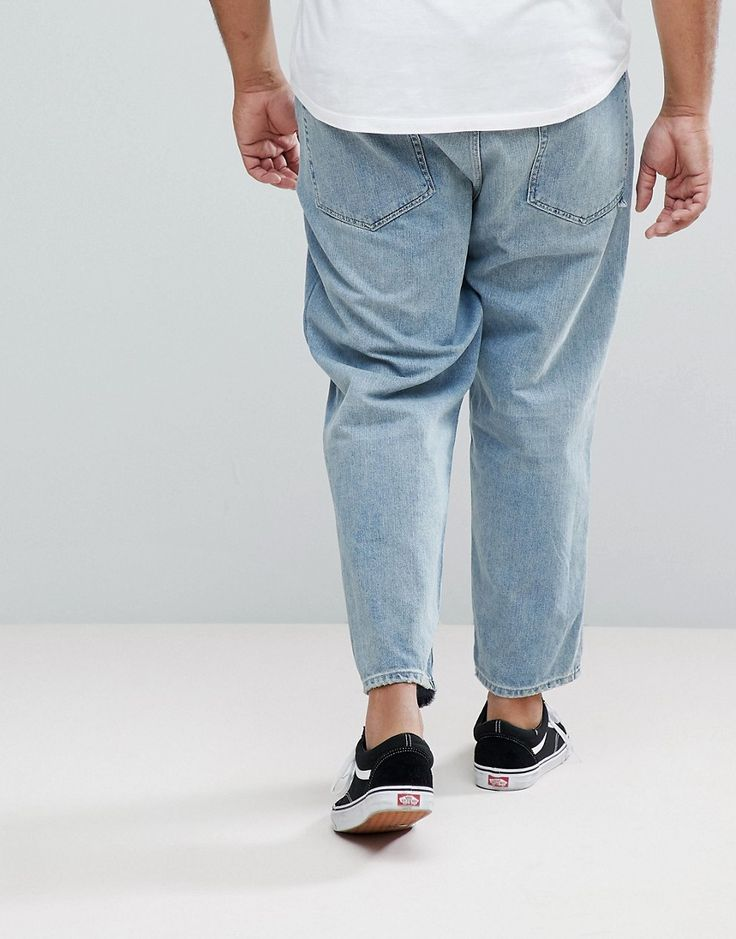 ASOS PLUS Skater Jeans In Vintage Light Wash Blue - Blue