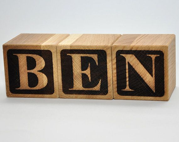 2 Personalized Wooden Name Blocks Natural by StarBlock on Etsy