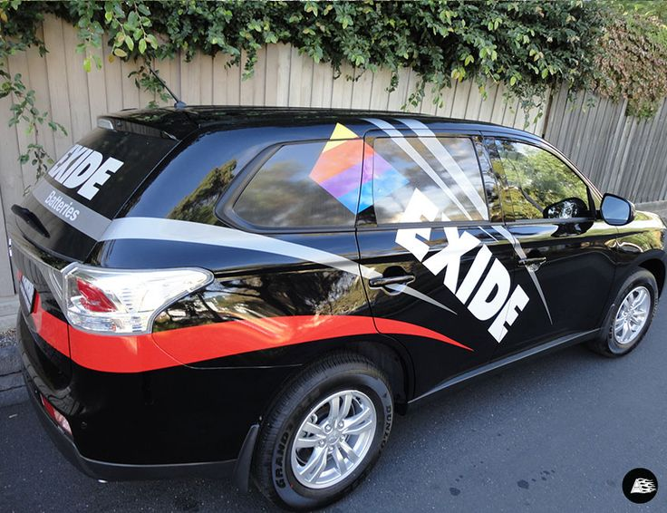 Exide Batteries, Mitsubishi Outlander, Vehicle Wrap, Striped Decal