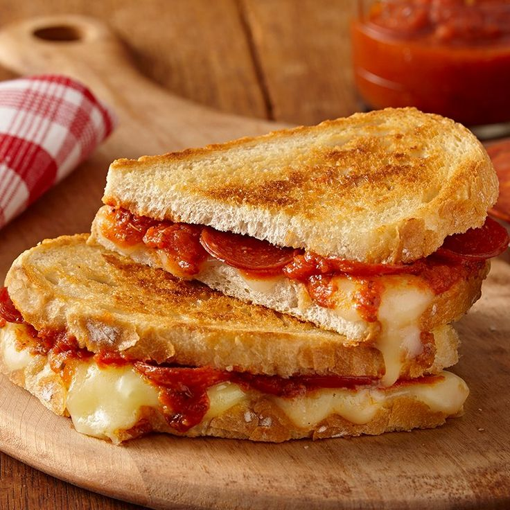 For a twist on American and Italian traditions, try making a pizza grilled cheese using pizza sauce, mozzarella and slices of pepperoni!
