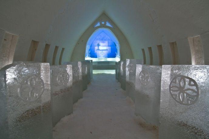 Icechapel of Arctic Snowhotel Rovaniemi in Finland