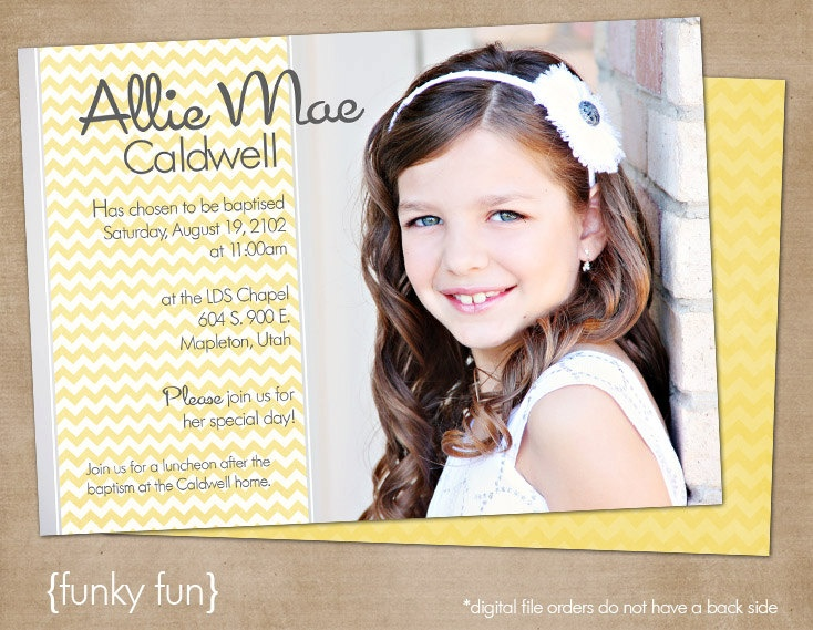 "LDS Baptism Photo Invitation (Digital or Printed)- ""funky fun"""