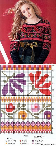 Пуловер спицами с цветочным орнаментом