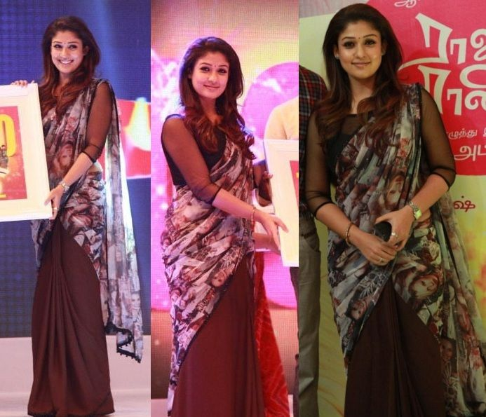 Nayanthara attended the 100th day celebrations of Raja Rani wearing a printed half-sari by Poornima Indrajith featuring images of models from what seemed like a fashion glossy. (Although at first, we were convinced that was Ms. Taylor Swift on the sari.)  While Nayanthara looked nice, can't say we feel the same about the sari. It was baaaad. Plus, why put a print on the pallu upside down? Also, anyone else getting a Satya Paul déjà vu?