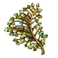 Vintage Pine Leaf With Olivine And Clear Crystal Brooches And Pins Floral Brooch Pinterest