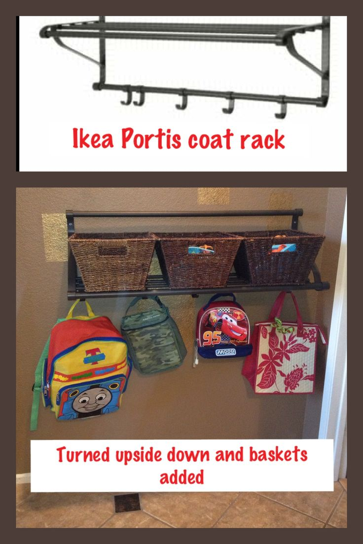 Portis coat rack ( twenty dollars) from IKEA, turned upside down so that toddlers won't pull the baskets off the top. Each has their own.  Hopefully a time saver in the morning not having to look for shoes, lunch boxes and backpacks!  I might put a cork board or whiteboard above each for notes/ schedules.