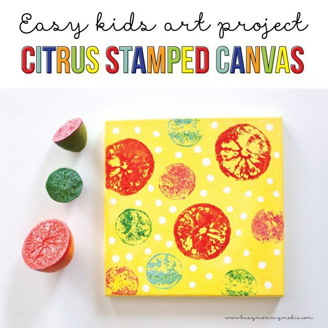 Need a project to keep kids busy this summer? This Citrus Stamped Canvas art project is fun for kids and adult DIYers. It's really simple so even your really young kiddos can do it with a little help. I think this would look so cute in a kitchen or dining room! Match up the colors to the color scheme in your home. Kids love to see their artwork displayed and this is a great way to add a pop of color to your walls.