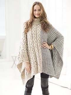 """From the Lion Brand website: """"Practice your ribbing and cables with this fashionably chic poncho made with Vanna's Choice®."""""""