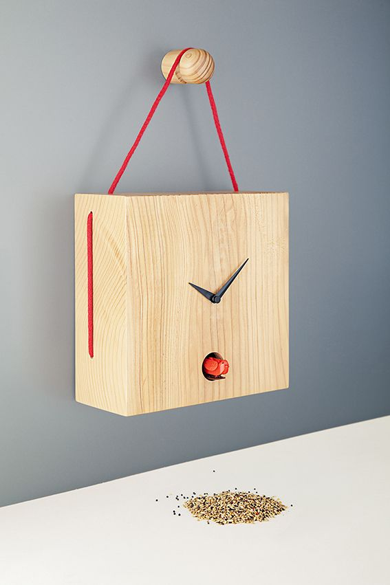 TOITURE designed by David Raffoul - Toiture is a coo-coo clock. The originality of this piece is the interpretation of a birdhouse that is accentuated by the roof. The textile rope is the element responsible to hold the clock and in the same time to continue the drawing of the house.  Produced by Diamantini & Dominiconi. #fabricadesignstudio #design #fabrica #diamantiniedomeniconi #clocks #davidraffoul - Pictures by Marco Zanin / Fabrica