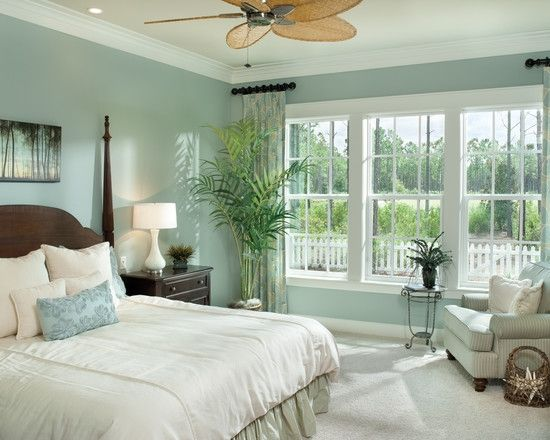 Home Decor Tropical Bedroom. I like the paint color for our master bedroom [ Wainscotingamerica.com ] #bedroom #wainscoting #design