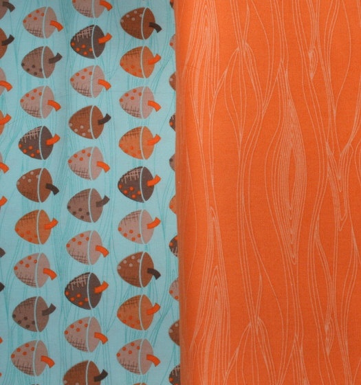 Acorn & wood patterned fabric - gorgeous contrast of orange and blue - will add a funky look to any room, from living rooms to teen bedrooms.