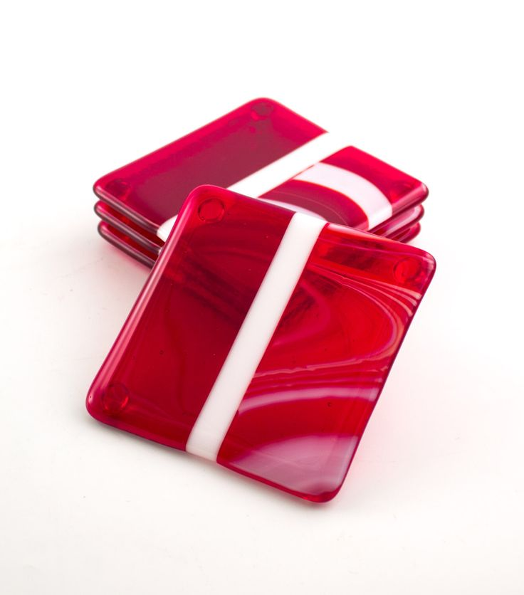 red and white fused glass coasters set of 4 drink coasters red home unique gifts