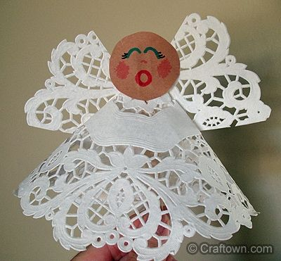 Paper Doily Angel craft for kids small doily, craft stick, construction paper, markers, glue