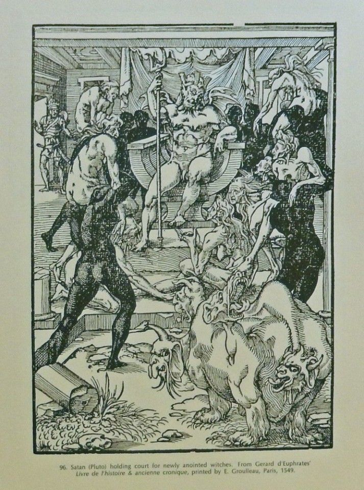 Satan  Pluto  holding court for newly anointed witches  1549