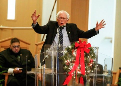 Bernie Sanders preaches at Mount Carmel Baptist church Waterloo Iowa Sunday December 13 2015 2016iowacaucus.com #BernieAManOfAction berniesanders.com  #BernieAManOfIntegrity  #FeelTheBern