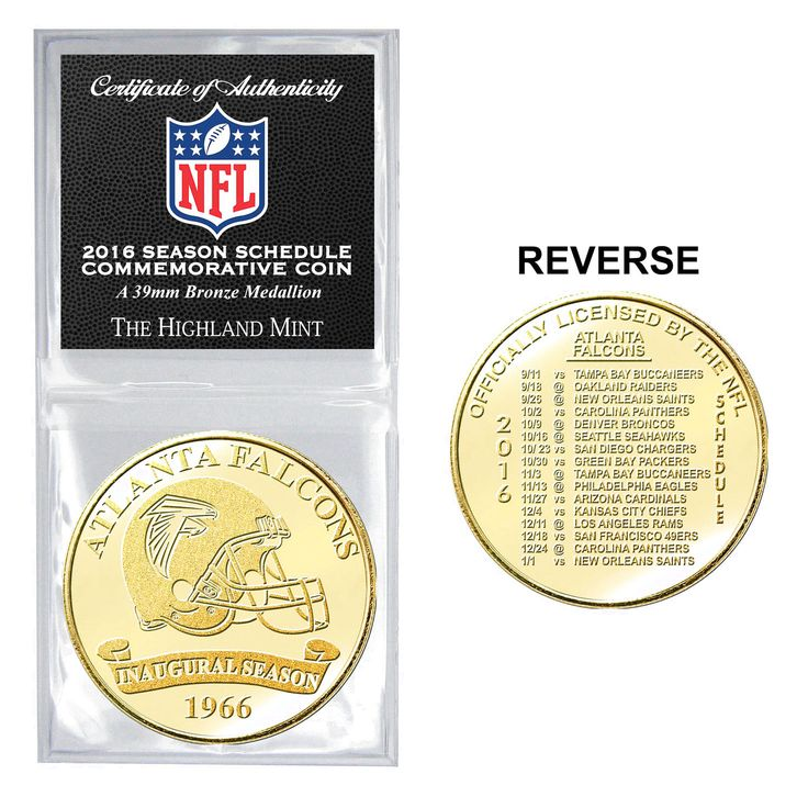 Atlanta Falcons Highland Mint 2016 Schedule Bronze Coin - $11.99