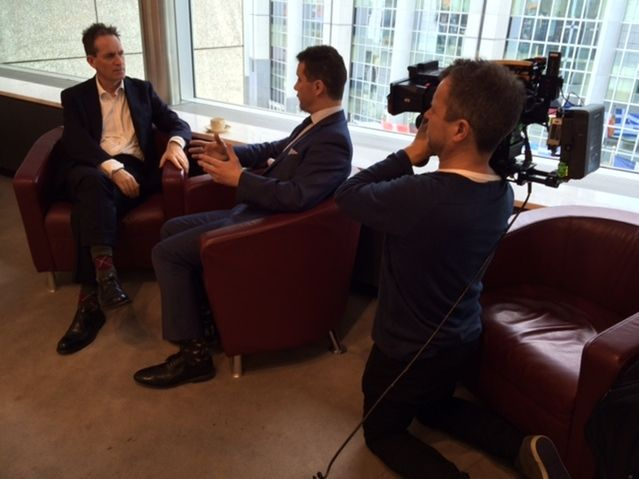 Martin with MEP Steven Woolfe on a tour of Brussels